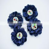 4pcs denim lace colorful rhinestone centre flower - wholesale chiffon lace flower - crystal rose flower