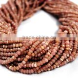 SEMI PRECIOUS NATURAL RHODOCHROSITE 3-4MM RONDELLE FACETED LOOSE BEADS STRAND JAIPUR JEWELRY