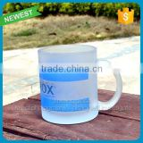 Hot sale unquie frosted dinking mug glass with handle wholesale printing logo frosted glass cup