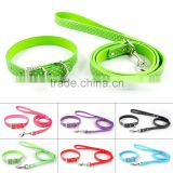 Wholesale Polka Dots Flat Leather Dog Collars And Leash