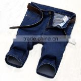 summer hot sales jeans factory china men denim dark blue straight stretch jeans shorts half pants                                                                                                         Supplier's Choice