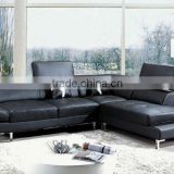 original design genuine Leather corner sofa black color sofa set living room furniture