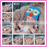 cute crochet blue owl animal hats wholesale winter hand knitted newborn baby hats for sale