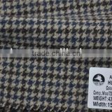 Hot sell high quality brown wool viscos blend polyester hounds tooth woolen fabric for fall and winter coats