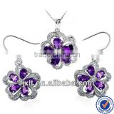 New Arrival High Collection Luxury 925 Sterling Silver Natural Amethyst Jewelry Sets