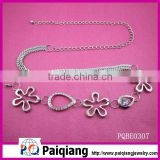 fashion flower design metal chain belt with rhinestone yiwu wholesale