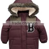 casual hooded boys padding jacket for winter with faux fur