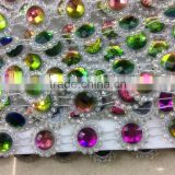 sew-on mixed color octagon glass Beaded On Black Base Rhinestone Applique Banding Diamond chain