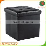 Leather wooden footrest/folding storage ottoman/ ottoman stool furniture For Living Room Use Manufacturer