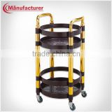 Restaurant Plastic Wine Service Trolley/Wine Delivery Hand Cart With Titanium Polished Handle