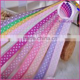 Wholesale dots grosgrain ribbon,3/8 inch with single-side printed dots,Children's hair accessories,100yards / roll.
