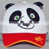 Guangzhou custom 100% cotton hat factory professional cartoon kung fu panda happy expression baseball cap