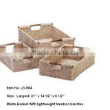 Maize Wicker baskets with lightweight bamboo handles