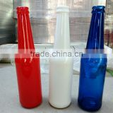 decorative glass beer bottle /beer glass bottle with 300 ML and white red blue , hot sale! customized logo.