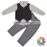 Newest Gentleman Patterns Baby Boy Clothes Clothing Set Boutique Baby Boy Outfits With Vest