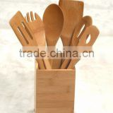 Bamboo utensil holder with 6pcs tools