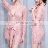 2017 Lingerie Transparent Lace Gown Bathrobe Sexy Pajamas