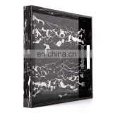 Hotel luxury Acrylic marble serving tray,black marble tray