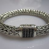 Men 925 Sterling Silver Wheat Chain Pave Black Diamonds John Hardy Bracelet