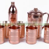 Lot of 6 Pieces Copper Glasses + 1 Copper Bottle + 1 Copper Water Jug Kitched Accessories