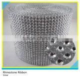 Plastic Crystal Rhinestone Roll Silver Plastic Mesh Trimming Ribbon Sew on 10 Yards 24 Rows
