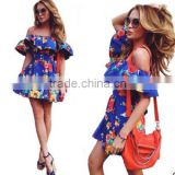 Sexy shoulders a word only beautiful ruffled printed strap dress Fashion dress