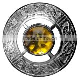 Celtic Design Piper Plaid Brooch With Yellow Stone In Chrome Finish Made Of Brass Material