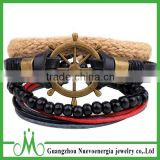 Hot sale summer black leather bracelet cheap price hemp rope braided bracelet with shiny wood beads bracelet