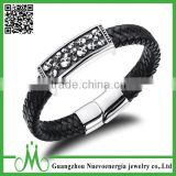 Black Braided Wristband Charming Mens Engraved Cool Skull Wrap Leather Bracelet Stainless Steel Clasp Bangle