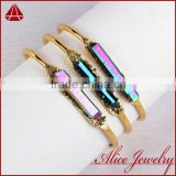 Natural aura quartz titanium crystal point gold eco plating jewelry bangle                                                                         Quality Choice