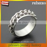 Wholesale Silver Tone Stainless Steel Chain Rings Rotating Spinner Men Gift