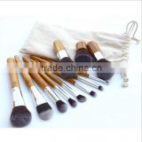 Professional 11PCS natural makeup brushes bamboo with synthetic fiber Blush brush, lip brush/makeup brush set