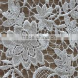 White lace french lace materials india african guipure cotton embroidery lace for wedding dress