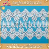 T0445-1-33A(3.4) New pattern design fancy french white embroidery polyester wide lace trim for garment decoration