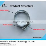 Stainless steel worm gear hose clamp with band width 12.8mm