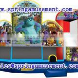 Best Design and Hot sale cartoon inflatable combo, inflatable jumper and slide for kids, inflatable bouncy castle