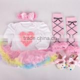 2015 children Chrismas baby long sleeves tutu yarn jumpsuit headbands shoes and leg warmer sets ( 4 in 1)