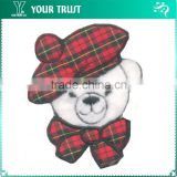 London White fluffy Bear With Check Hat Iron-on Custom Badge Embroidery Patches