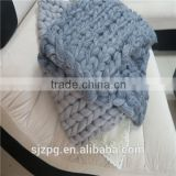 Fashion winter chunky knitting wool blankets Merino Wool Throw Blanket