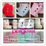 Coloful crochet handmade baby shoes Crochet baby cotton booties wholesales