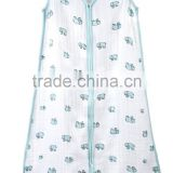 100% irganic cotton bamboo muslin fabric baby sleeping bagwith feet) bag with good comfort