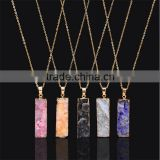 Jewelry 2016 hot selling natural unpolished crystal stone vertical quartz bar pendant necklaces