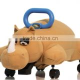 Baby ride on stuffed toy cow dinasour crocodile rhinoceros free 4 wheel riding stuffed toy