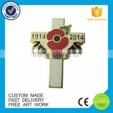 Wholesale poppy cross lapel pin cloisonne enamel custom souvenir badge