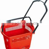 RH-BPR48 48L plastic shopping basket with wheels Rolling Basket With Wheels Collapsible Shopping Basket