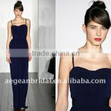 2011 navy blue sweatheart neck spaghetti strap floor-length chiffon maid of honor dress best seller ZS-c0123
