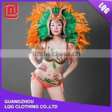 Sexy mixed color feather rhinestone brazilian carnival costume