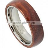 Titanium 6MM Wedding Band Mens Womens Unisex Domed Titanium Ring with Hawaiian Koa Wood Inlay