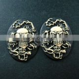 30x40mm oval skull resin cameo black vintage style halloween cabochon DIY pendant charm supplies 4120086