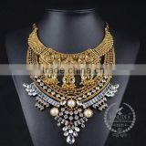 high quality vintage rhinestone imitation pearl chunky statement necklace tin alloy fashion women pendant necklace 6390130